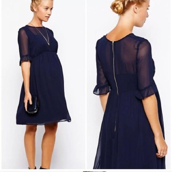 7092e659dbb91 ASOS Maternity Dresses & Skirts - ASOS Maternity Navy Chiffon Dress - Size 8